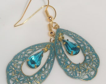 Gold Tone Filigree Rustic Distressed Blue Hand Patina Aqua Tear Drop Rhinestone Dangle PIERCED EARRINGS