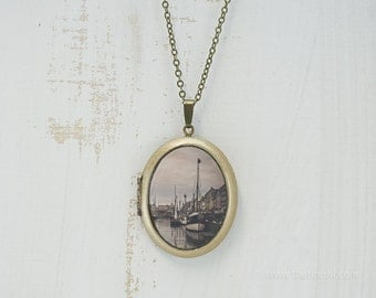 Copenhagen Photo Locket | Art Jewelry | Travel Photography | Brass Oval Locket | Necklace | Pendant | Denmark Canal Nautical