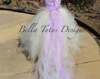 Flower Girl Floor Length Sewn Tutu Dress Lavender and Ivory Satin Corset Top with Lace Overlay and Straps and Detachable Train CUSTOMIZABLE
