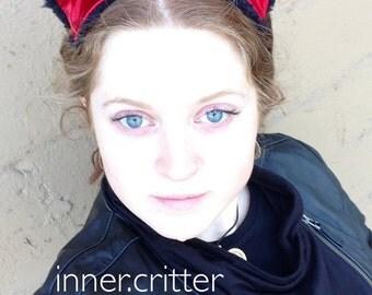 Kitton Ears - Super Plush Black with Red Satiny Lining - Neko Catgirl Catboy Cat Kitteh Kitten
