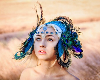 READY TO SHIP Peacock Fairy Jeweled headpiece headdress