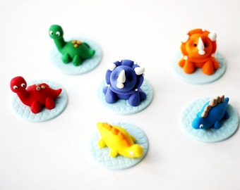 Our EXCLUSIVE Design Whimsical 3D Dinosaur and Age Fondant Toppers - Fondant Dinosaur Toppers - Dinosaur Cupcake Toppers