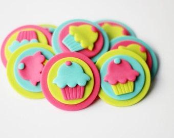 Fondant Cupcakes - Fondant Cupcake Toppers - Fondant Cupcake Themed Toppers - Fondant Cupcake Party - Cupcake Party - Cupcake Design Topper