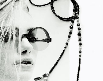 Eyewear holder, Black and silver, bead eyewear chain, glasses holder, sunglass chain, reading glasses chain, beaded eyewear holder, handmade
