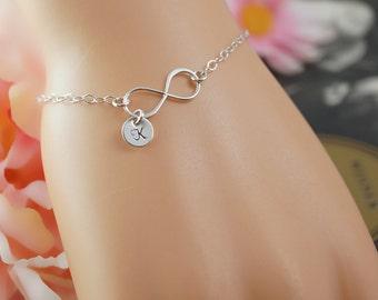 Simple infinity bracelet with personalized charm, tiny infinity bracelet, everyday jewelry, personalized bracelet