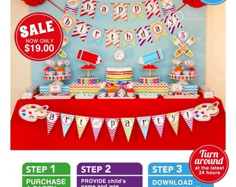 Rainbow Art Party Birthday Package Personalized FULL Collection Set - PRINTABLE DIY - E1a