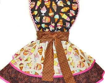"Exclusive ""Ice Cream Dream"" Made-To-Order Apron Pinup Diner-Only from Tie Me Up Aprons"