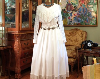 Vintage Wild West Wedding Dress . Dale Evans Delight . Pearls Lace & Fringe . Cotton . Alternative Bridal Gown . Rodeo Princess . Costume .
