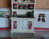 Miniature Kitchen Cabinet Full of Watermelon Collection.