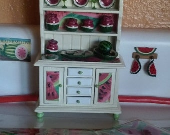 Miniature Kitchen Cabinet Full of Watermelon Collection.    Free Shipping