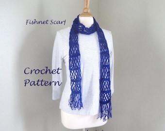 Easy Scarf Crochet Pattern, Fishnet Scarf, Beginner Crocheter, Long Thin Lacy, Quick Simple Fast Speedy