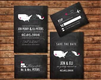 Destination Wedding Invitation printables, Chalkboard wedding, Map invitation, Customized DIY wedding