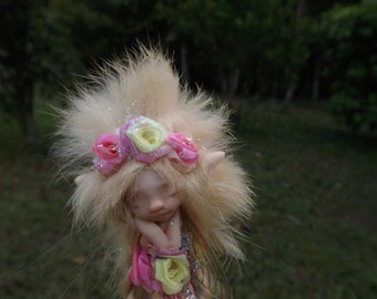 sweet sleepy  fur  fairy fairie with dragonfly wings and fairy trims  ooak