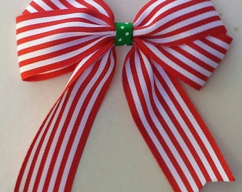 Peppermint Striped Christmas Bow