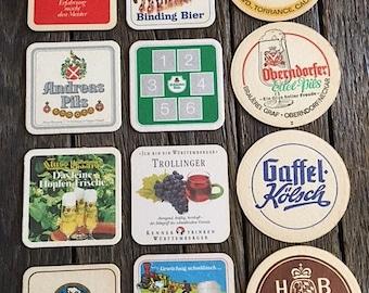 ON SALE - Vintage Beer Coasters - 12 Vintage German Beer Coasters - 12 Assorted German Beer Coasters