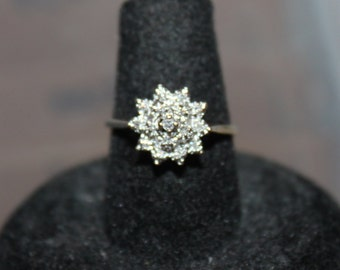 Summer Sale-Vintage 10K Yellow Gold Cluster Diamond Star Ring- 16 Diamonds