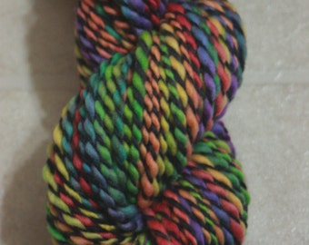 "Handspun Yarn, Merino Wool / Rainbow Yarn / ""Stained Glass"" Colorway / Worsted Weight / 100 yards, 3.6 oz."