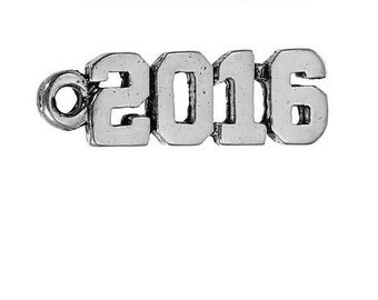1 - 2016 Charm Antique Silver 20 x 6 mm U.S Seller - sc180