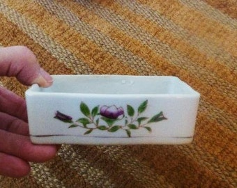 Porcelain Soap Dish with  Hand Painted Flowers,  Made in Occupied Japan