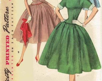 50s Swing Dress Pattern SImplicity 1238 Simple to Make Dropped Waist, Kimono Sleeve, Full Skirt, Detachable Collar & Cuffs. Size 12 Bust 30.