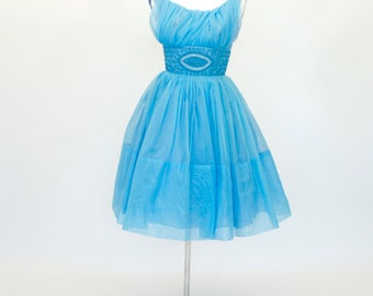 50's / 60's Fit and Flare Prom Dress, blue Prom Dress, Cupcake Dress, Women's Small Dress, 32 Bust