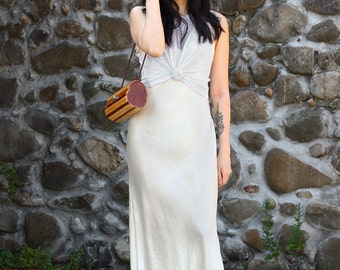 Vintage '90s Silk Slip Dress Cream Maxi Camisole Dress by Lord & Taylor - Size Small