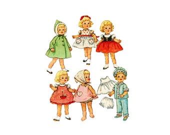 "1960s 20"" Doll Sewing Pattern Chatty Cathy Simplicity 4652 Pinafore Dress Coat Hat Slip Bloomers Pajamas Bavarian Dress"