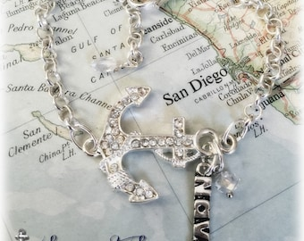 US Navy rhinestone sideways anchor bracelet by Son and Sea FREE US shipping