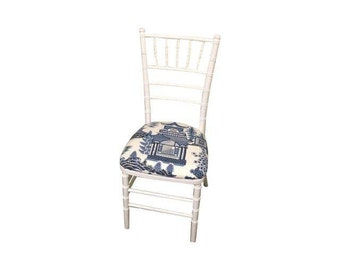 White Bamboo Chairs with Schumacher Nanjing Fabric Banquet Chiavari Ballroom Chairs Chinoiserie Hollywood Regency Faux Bamboo