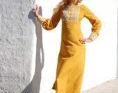 Vintage gold 1960s dress, yellow mustard amber mod long sleeves, white lace formal, empire waist girls XXS petite Heather