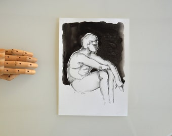 Original male ink drawing on paper- male drawings modern nudeink art man resting nude drawing man drawing painting by Cristina Ripper
