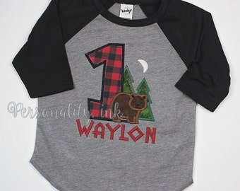Lumberjack Birthday Raglan Shirt - First Birthday Shirt - Boys lumber jack shirt - Boys forest Bear