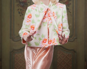 Reversible 'Bettie' Bed Jacket, Floral Fleece and Peach Satin, 1930's inspired, vintage style, perfect for your Mum on Mothers day