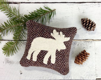 Moose Pillow, Moose Decor, Maine Balsam Pillow, Rustic Home Decor, Cabin Pillows, Cabin Decor, Brown Pillow, Small Pillow, Eco Friendly Gift