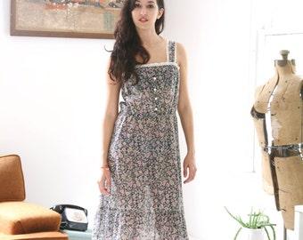 Vintage Boho Prairie Dress Gunne Sax Style Small Semi Sheer Gauze Cotton