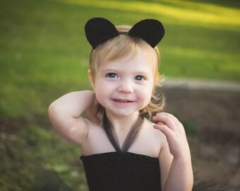 Black Bear Ears Headband - Halloween Animal Hard Hairband Little Girls Child Teen Adult Ladies Woman Size - Cosplay Accessory - Wildlife Zoo