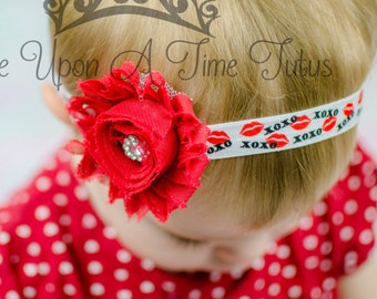 Red Shabby Kiss Lip Print Headband - Valentine's Day Flower Hair Bow - Newborn Baby Hairbow Little Girl Photo Prop XoXo Printed Hair Piece