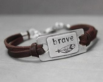 Brave Bracelet, Feather Bracelet, Leather Charm Bracelet, Leather Bracelet, Pewter Bracelet, Boho Bracelet, Hand Stamped Bracelet,