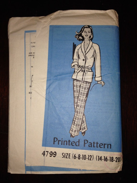 Anne Adams Mail Order Sewing Pattern 4799 Vintage 50s Misses Jacket Pants and Tie Belt Size 14-20