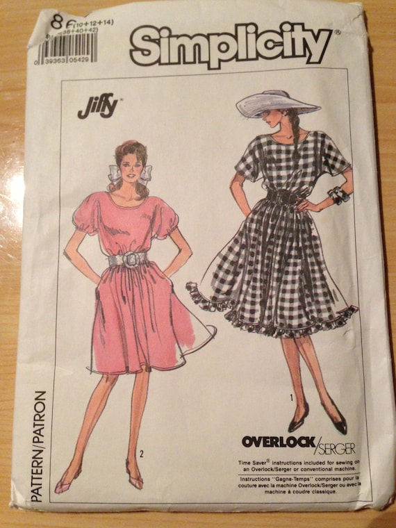 Misses Pullover Dress in Two Lengths Simplicity Sewing Pattern 8617 80s Size 10-14 Uncut