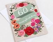 60th Birthday Card  - Large A5 - Female Birthday Card - Happy 60th Birthday - 60 - 60th Card