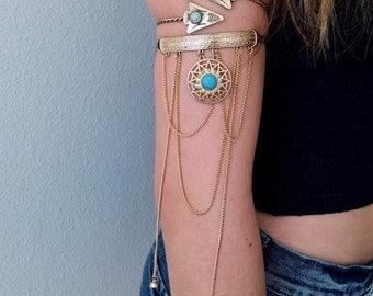 Gold Upper arm cuff bracelet, Prom dress accessories jewellery, Armlet Arm Cuff, music festival jewelry, Best popular jewelery