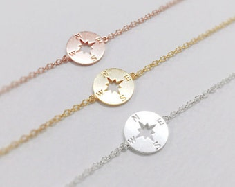 Compass Bracelet, christmas gift, best friend bracelet, Nautical Jewelry, sterling silver compass bracelet, 925 silver compass