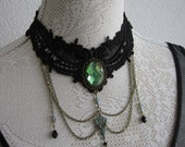 Gothic Victorian Rococo Burlesque Witch Fairy Mermaid Lace Choker Collier Necklace Black and Green