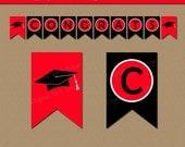 Printable Graduation Banner - Red & Black Graduation Party Decorations - EDITABLE Graduation Banner Template - Grad Party Instant Download