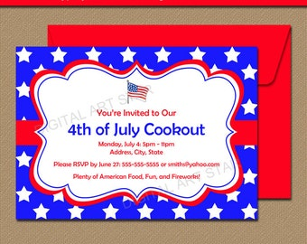 Fourth of July Invitations - July 4th Invitations - Instant Download Patriotic Party Invitations - Memorial Day BBQ Invitation Template