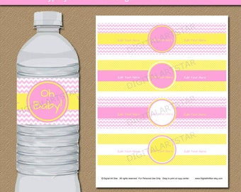 Pink and Yellow Baby Shower Water Bottle Label Template - Printable Baby Girl Shower Decorations Girl Birthday Decorations Instant Download