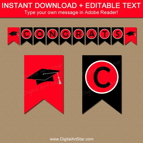 2018 graduation banner printable editable graduation party decorations red and black. Black Bedroom Furniture Sets. Home Design Ideas