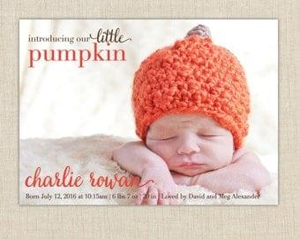 Our little pumpkin birth announcement