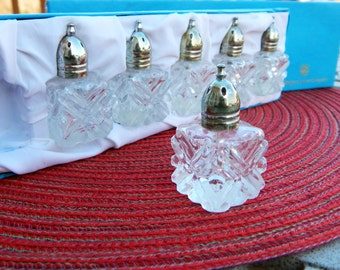 Rogers Silver & Crystal Salt Shakers Set of 6 - New In Box